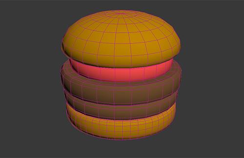 トマトは「ヒール」をベースにモデリングしてバンズに重ねたCGのハンバーガー