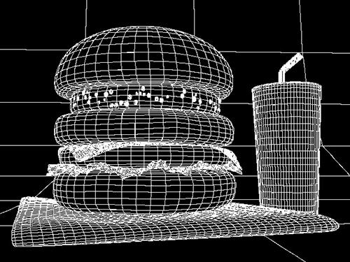 CGで作ったハンバーガーのワイヤーフレーム