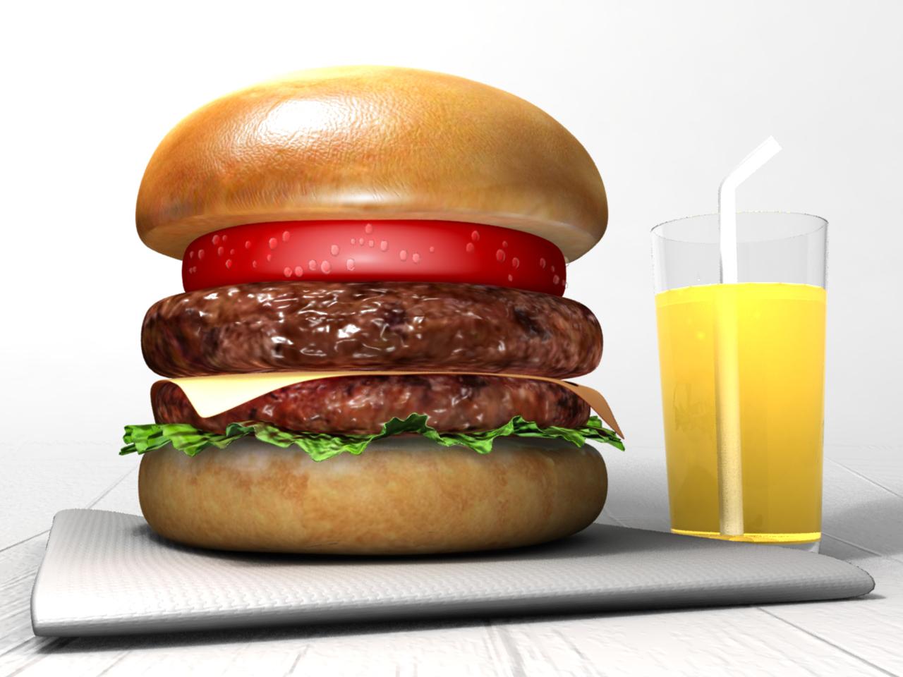 CGで作ったハンバーガーセットのレンダリング画像