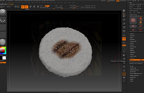 zbrushのspotlightを使ってCGのハンバーガーのテクスチャを作っている所