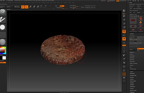zbrushのspotlightを使ってCGハンバーガーのテクスチャが完成