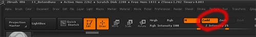 zbrushで「Zadd」にチェックを入れるとテクスチャと同時にスカルプできる