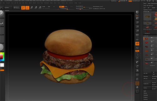 Zbrushでテクスチャを描いたCGのハンバーガー