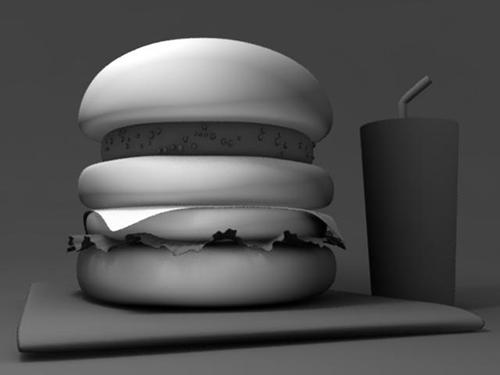 CGハンバーガーのバンズにだけライティング
