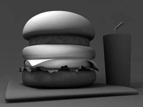 CGハンバーガーのチーズにだけスポットライトよるライティング