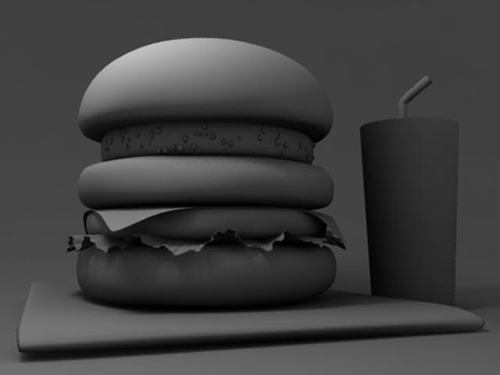 CGハンバーガーのメインライトによるライティング