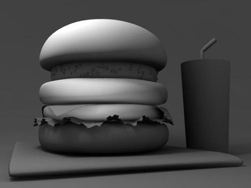 CGハンバーガーのポイントライトでパティにだけライティング